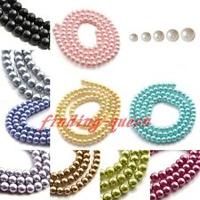 1 Strand 4/6/8/10/12mm Faux Loose Round Glass Pearl Spacer Beads Findings DIY