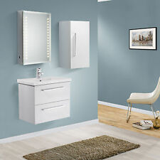 600mm WALL HUNG WHITE GLOSS BATHROOM BASIN CABINET VANITY + SIDE CABINET (OPT)