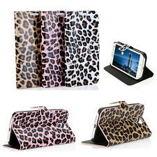 Leopard Print Flip Wallet Stand Case Cover for Samsung Galaxy S4 i9500/i9505 AU