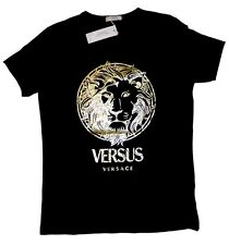 Brand New Authentic Black Versace T-Shirt Yellow Gold Lion Head M,L,XL,XXL
