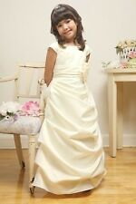 Bridal Satin Ivory A-Line Gathered Flower Girl Dress Wedding Bridesmaid Church