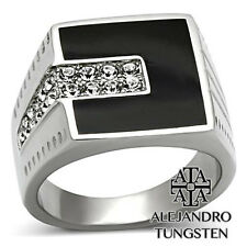 Men's Ring Black Top 0.57 Ct Round Brilliant Silver Stainless Steel - TK388