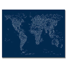 Font World Map VI by Michael Tompsett Graphic Art on Canvas in Navy