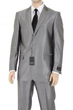 Renoir Classic Fit Silver Gray Sharkskin Two Button Suit