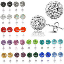 Multicolors Round Crystal Shamballa Beads Balls Earrings Studs Ear Jewelry