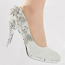 New Glitter Gorgeous Wedding Bridal Evening Party Crystal High Heels Women Shoes