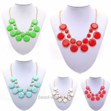Hot Fashion Women's Jewelry Gold Plated And Gemstone Double-Deck Necklace
