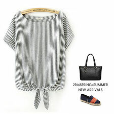 Womens Relaxed Short Sleeve Striped Shirt Tee Top Knot Tie Scoop Neck T-shirt