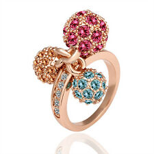 18K Rose Gold GP 3 Color Ball With Fashion Crystal Ring Size 8(or 6 7) R014