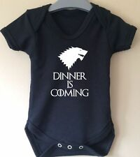 DINNER IS COMING WINTER IS COMING WOLF GAME OF THRONES BABY BODY VEST GIRL BOY