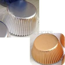 50x Cupcake Cake liners Cake Moulding Standing Paper Baking Cup Gold&Silver IUK