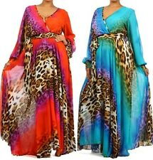 PLUS SIZE ANIMAL PRINT FULL SWEEP CHIFFON MAXI DRESS WRAP SHEER LONG GOWN CRUISE