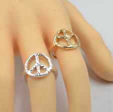 New Women Gril Fashion Jewelry Silver/Gold Plated Peace Sign Finger Ring Gift