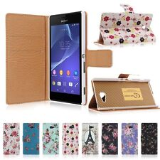 Peony Flower PU Leather Wallet Case Cover For Sony Xperia M2 D2303 D2306 D2305