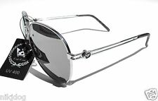 Large Aviator Mirror Sunglasses Triple Crown Silver or Gold Frame Mirrored Cop