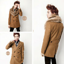2014 Korean New mens worsted faux fur double-breasted long tweed coat overcoat