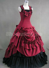 Victorian Princess Elegant Red Satin Sleeveless Ruffles Lolita Dress Tailor Made