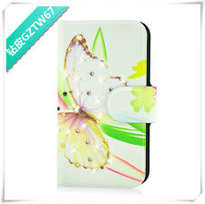 Colourful butterfly flower diamond PU LEATHER FLIP Case COVER for SONY Xperia