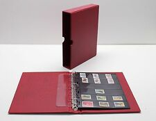 VARIO Red 3 Ring Binder w 20 Six Pocket Pages for Stamp, Currency & Other