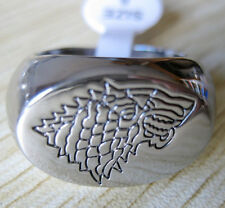"Game of Thrones Stark Ring Direwolf Ring ""A Song of Ice and Fire"" Silver Plated"
