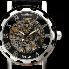 Best Mens Black Leather Skeleton semi automatic Mechanical Sport Wrist Watch