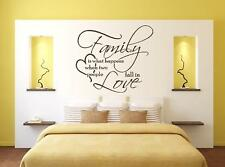 FAMILY IS WHAT HAPPENS WALL QUOTE STICKER ART VINYL DECAL FREE P&P