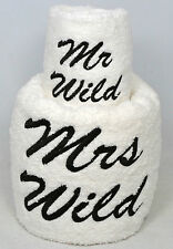 Mr & Mrs Personalised Embroidered Wedding towel gift set-Choice of thread colour