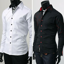 Top Design Fashion Men Slim Fit Long Sleeve Casual Shirts Formal Dress Shirts