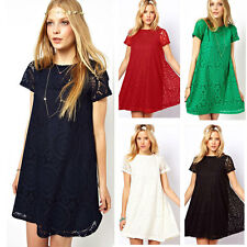Womens Short Sleeve Lace Casual Club Cocktail Party Loose Mini Dress