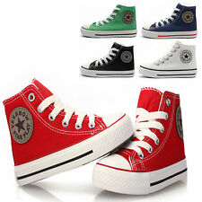 HOT Baby Kid's High Top Multi Color Canvas Sneakers Boy Girl Lace Up Flats Shoes