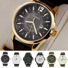 Luxury Men's Analog Sport Steel Case Quartz Date Leather Wrist Watch