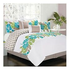 NEW Bed Bag King Queen Full 7pc Teal Green Tan Tropical Floral Comforter Set NWT