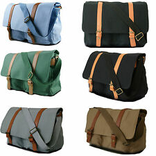Unisex Retro Large School Work College Laptop Messenger Shoulder Satchel Bag