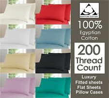200TC 100% Cotton Duvet Cover, Fitted Flat Sheet PillowCases Single Double King