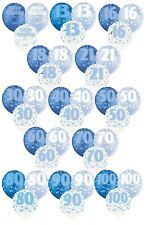 """BLUE GLITZ - Pack of 6 x 12"""" Pearlised Latex Balloons (Birthday Party/Boy)"""