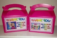 Girls Personalised Birthday Party Bag Boxes, Food Boxes, Cake, Gift Boxes X 10