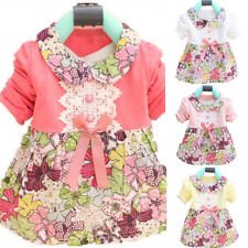 New Toddler Baby Girls Floral Princess Dress Bow One Piece Kids Dress Skirt 0-2Y