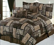 NEW Bed Bag Queen King 7pc Leopard Animal Print Tiger Stripe Brown Comforter Set
