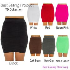 Seamless Ribbed Solid Basic Mini Spandex Tight Fitted Skirt One Size