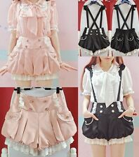Cute Lace Pleat DoubleBreasted Lantern Detachable Suspender Shorts Pants Bottoms