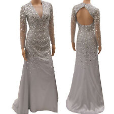Silvery Grey Sheer Plunging V Neck Sequin Long Sleeved Evening Formal Prom Dress