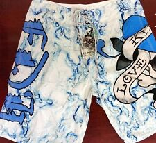 AUTHENTIC ED HARDY CHRISTIAN AUDIGIER LOVE KILLS MEN'S BOARD SHORTS SURF TRUNKS