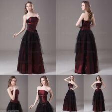 Black&Burgundy Strapless Long Bridesmaid Formal Prom Dresses Evening Ball Gown