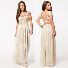 Women's Summer Sleeveless Backless Boho Long Maxi Evening Party Beach Lace Dress