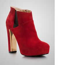 Guess Women's Coreline Dark Red Gold-tone Plate at the Inner Heel Suede Booties