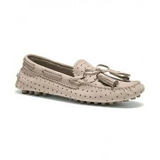 Coach Nadia Perforated Nubuck Driving Grey Birch Loafer Shoes Multiple Sizes