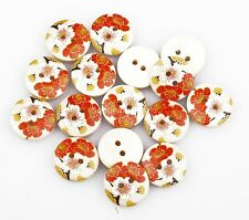 Wholesale 100pcs New Fashion Flower Wood Painting Sewing Buttons 18mm 2 Holes