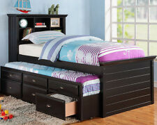 NEW NEW RIVER BLACK OR CHERRY FINISH WOOD BOOKCASE TWIN BED w/ TRUNDLE & DRAWERS