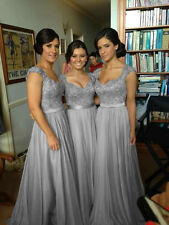 Silver Long Chiffon Evening Formal Party Ball Gown Prom Bridesmaid Dress 6 -18