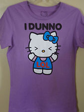 Hello Kitty Purple (Kitty Saying I Dunno with Blue Bow) T-shirt